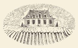 Franse Provincie, het Menu van het Wijnetiket, Gegraveerde Wijnoogst Stock Fotografie