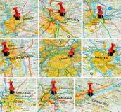 Franse steden op kaart (2) Stock Foto's