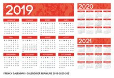 Franse taal geweven kalender 2019-2020-2021 stock illustratie