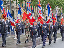 Franse Veteranen op Parade Stock Afbeelding