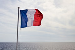 Franse vlag die in de wind golven Stock Afbeeldingen