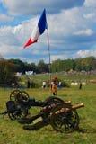 Franse Vlaggolven bij een Frans kamp Royalty-vrije Stock Afbeeldingen