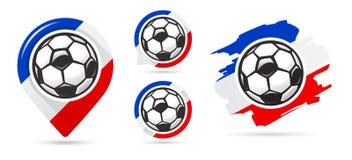 Franse voetbal vectorpictogrammen Het Doel van het voetbal Reeks voetbalpictogrammen De wijzer van de voetbalkaart Het vereiste b stock illustratie