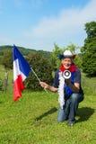 Franse Voetbalventilator met vlag Royalty-vrije Stock Fotografie