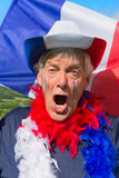 Franse Voetbalventilator met vlag Stock Afbeeldingen