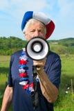 Franse Voetbalventilator met vlag Stock Foto's