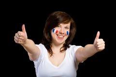 Franse vrouwelijke verdediger met duimen op gebaar royalty-vrije stock afbeelding