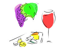 Franse wijn en kaasplaat stock illustratie