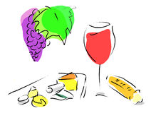 Franse wijn, kaasplaat en Frans brood stock illustratie