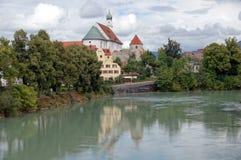 Fransiskanerkloster - Monastery on the River Lech Stock Photo