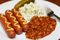 Fransk and Beans with Coleslaw and Pickle Royalty Free Stock Images