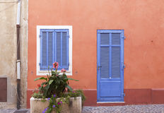 Fransk dörr och fönster Arkivbild