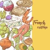 Fransk dragen design för kokkonst hand med ost, vin och blötdjur Mat och drink stock illustrationer