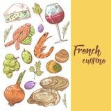 Fransk dragen design för kokkonst hand med ost, vin och druvan Mat och drink royaltyfri illustrationer