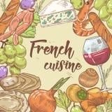 Fransk dragen design för kokkonst hand med ost, vin och gifflet Mat och drink stock illustrationer
