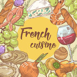 Fransk dragen design för kokkonst hand med ost, vin och skaldjur Mat och drink royaltyfri illustrationer