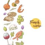 Fransk dragen design för kokkonst hand med ost, vin och skaldjur Mat och drink stock illustrationer