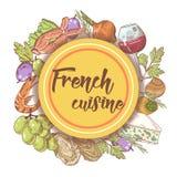 Fransk dragen menydesign för kokkonst hand med ost, vin och skaldjur Mat och drink vektor illustrationer