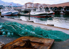 Fransk fiskenäring, St Jean de Luz, Frankrike Arkivbild