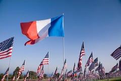 Fransk flagga bland 3000 flaggor Arkivbilder