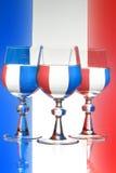 fransk glass wine för flagga arkivfoto