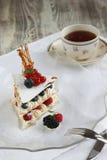 Fransk jordgubbe- och blåbärmarängkaka Arkivfoton