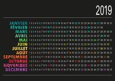 Fransk kalender 2019 Royaltyfri Foto