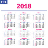 Fransk kalender 2018 vektor illustrationer