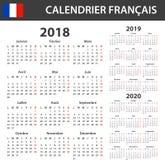 Fransk kalender för 2018, 2019 och 2020 Scheduler-, dagordning- eller dagbokmall Veckastarter på Måndag vektor illustrationer