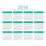 Fransk kalendervektor 2018 Royaltyfria Bilder