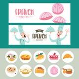 Fransk kokkonst En upps?ttning av fransk disk Banermallar, symboler royaltyfri illustrationer