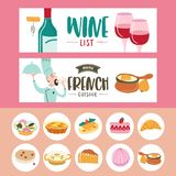 Fransk kokkonst En upps?ttning av fransk disk Banermallar, symboler stock illustrationer