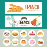 Fransk kokkonst En upps?ttning av fransk disk Banermallar, symboler vektor illustrationer