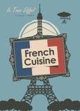 Fransk kokkonst för banerrestaurang med Eiffeltorn stock illustrationer