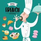 Fransk kokkonst meny En uppsättning av franskadisk och bakelser royaltyfri illustrationer