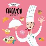Fransk kokkonst meny En uppsättning av franskadisk och bakelser stock illustrationer