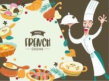 Fransk kokkonst och kock En stor uppsättning av vektordisk stock illustrationer
