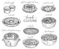 Fransk kokkonst Samling av läcker mat element royaltyfri illustrationer