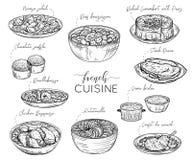 Fransk kokkonst Samling av läcker mat Isolerade beståndsdelar royaltyfri illustrationer