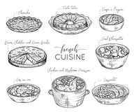 Fransk kokkonst Samling av läcker mat Isolerade beståndsdelar vektor illustrationer