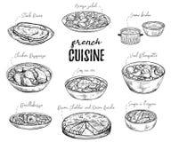 Fransk kokkonst Samling av läcker mat Isolerade beståndsdelar stock illustrationer