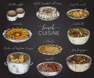 Fransk kokkonst Samling av läcker mat på den svart tavlan royaltyfri illustrationer