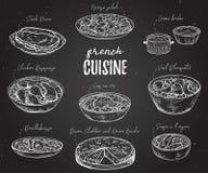Fransk kokkonst Samling av läcker mat på den svart tavlan stock illustrationer