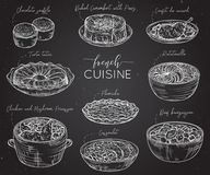 Fransk kokkonst Samling av läcker mat på den svart tavlan element royaltyfri illustrationer
