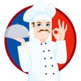 Fransk kokkonstkock With Mustache Arkivfoton