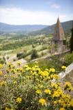 Fransk by-/kyrkasikt med blommor, provence, Frankrike Royaltyfria Foton