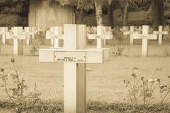 Fransk kyrkogård från det första världskriget i Flanders Belgien arkivbilder
