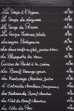 Fransk meny på svart tavla Royaltyfria Bilder