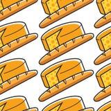Fransk modellFrankrike för ost och för bagett sömlös kokkonst stock illustrationer