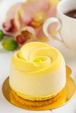 Fransk mousseentremet med gul chokladvelour royaltyfria foton